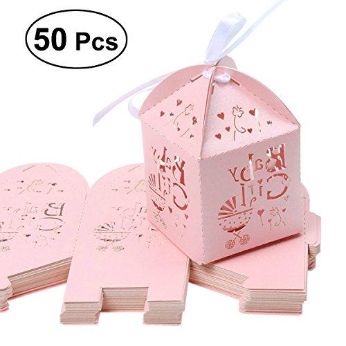 ULTNICE 50 Stück Geschenkbox,Musik Wagen Süßigkeit Kästen Hochzeit Bevorzugungen Box für Hochzeit/Geburtstag/Party,Rosa