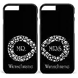 Design 82 Berlin Doppelhülle 'Unendlich - Mr & Mrs - Hochzeit - Infinity' mit Namen, Kompatibel mit Apple iPhone 7 Plus, Farbe: Schwarz