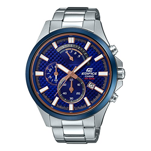 Casio Edifice EFV-530DB-2AVUDF Chronograph- Reloj analógico de cuarzo plateado para hombre