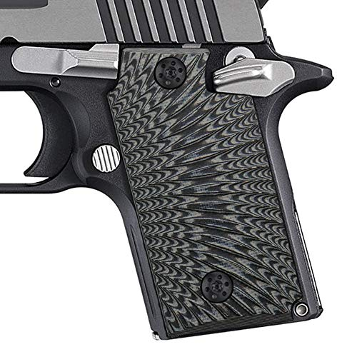 Cool Hand G10 Grips for Sig Sauer P238, Without Ambi Safety Cut, Sunburst Texture, Grey/Black