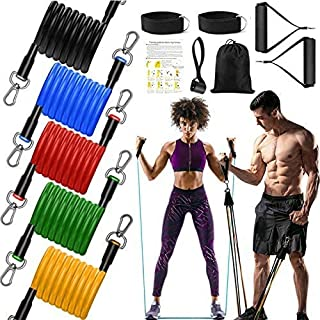 11pcs/Set Fitness Resistance Bands - Workout Bands with Handles, Door Anchor, Ankle Straps, Training Tubes Practical Exerc...