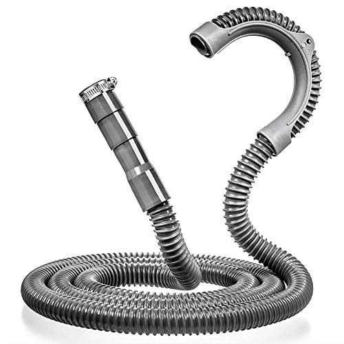 Luvan Universal Washing Machine Drain Hose - 2.4M Drain Hose - Corrugated and Flexible Washer Drain Hose - Installation Washer Hose Drain Replacement - Reinforced Washer Hoses with Clamp (2.4M)