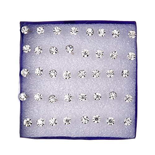 GSZPXF 20 Pares/Set Cristal Blanco Pendientes establecidas for Las Mujeres del Pendiente de la joyería Diamantes de imitación Pendientes Pack Kit lotes brincos (Color : Size 0.2cm)