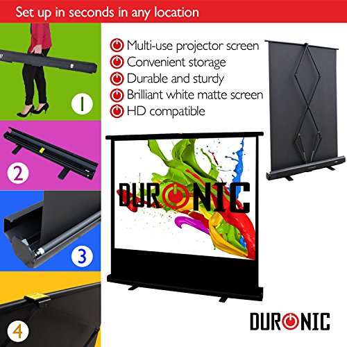 "Duronic Projector Screen FPS100/43 - 100"" Floor Projection Screen  | School | Theatre | Cinema | Home Projector Screen (Screen: 203cm(w) X 152cm(h) Portable Freestanding - 4:3 Widescreen"