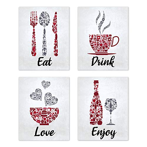 "Red Maroon Grey White Mosaic Vintage Inspirational Kitchen Restaurant Cafe Bar Wall Art Decorations Eat Drink Love Wine Coffee Hearts Prints Posters Signs Sets Rustic Farmhouse Country Home Dining Room House Decor Funny Sayings Quotes Unframed 8""x10"""