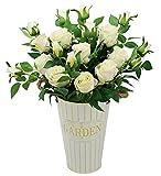 Olrla 6 rose artificiali vintage fiori in finta seta, bouquet da matrimonio decorazione per casa hotel ufficio giardino (champagne, 6)