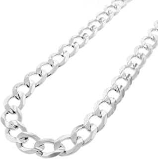 Capital Jewelry Genuine Solid Sterling Silver Cuban Curb Link .925 ITProLux Necklace Chains, Silver Chain for Men & Women,...