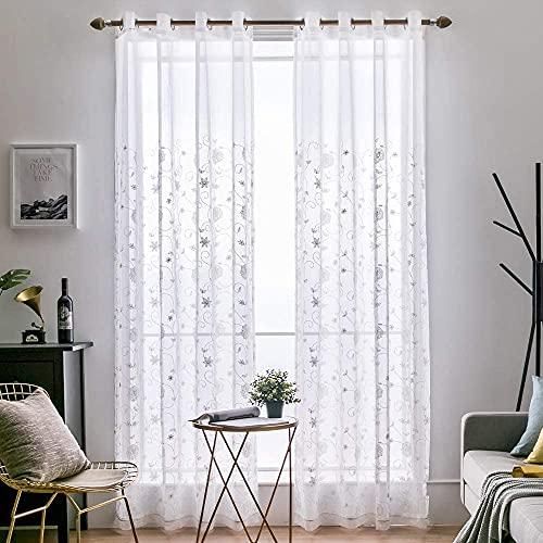 MIULEE Vorhang Voile Blumen Stickerei Vorhänge mit Ösen transparent Gardine 2 Stücke Ösenvorhang Gaze paarig schals Fensterschal für Wohnzimmer Schlafzimmer 225cm x 140cm(H x B)
