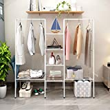 <span class='highlight'><span class='highlight'>BOFENG</span></span> Clothes Rail/Metal Garment Rack Heavy Duty Indoor Bedroom Clothing Hanger With Top Rod and Lower Storage Shelf Clothes Rack (White)