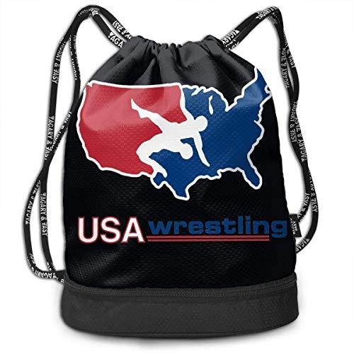 Sporttaschen, Rucksäcke,Outdoor Bundle Backpack Drawstring Backpack Bags Pack Travel Sport Gym Sack Bag for Men/Women and Kids, Usa America Wrestling Logo