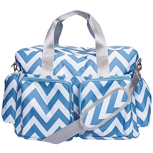 Blue and White Chevron Zig Zag Deluxe Duffle Diaper Bag with Shoulder Strap