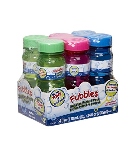 Little Kids Fubbles Premium Long Lasting Bubble Solution Includes 4oz of Bubbles and Wand per Bottle Party 6 Pack - Great for Bubble Machines, Birthday Parties and Outdoor Fun