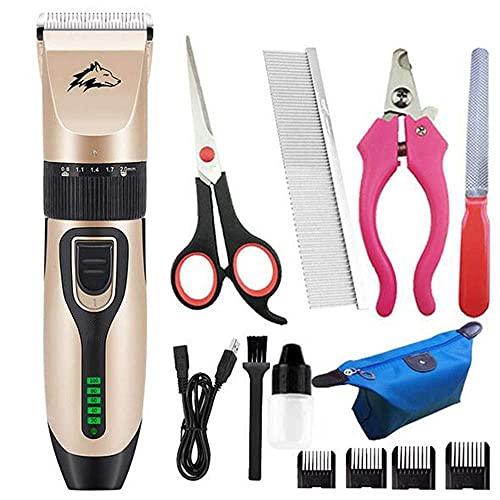 WSYGHP Hundeschnipper, 5 Geschwindigkeit wiederaufladbare schnurlose elektrische Ruhige Haarschneider für Hunde Katzen Haustiere gut Kleintier rasierer (Color : Green)