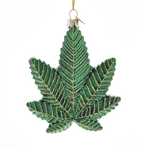 Kurt Adler 4.25-inch Glass Cannabis Leaf Hanging Ornament
