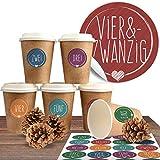 """Adventskalender DIY Set mit 24 Coffee-to-Go-Bechern (100% biologisch abbaubar) zum befüllen und selber basteln inkl. 24 weihnachtlichen Aufklebern """"Schick und Bunt"""""""