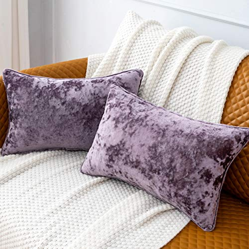 Pack of 2 Luxury Crushed Velvet Lavender Throw Pillow Covers for Sofa Couch Chair, 12'x 20' Rectangle Purple Decorative Plush Pillowcases Cushion Cover for Bedroom Livingroom Car