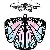 URSING Frauen Schmetterling Flügel Schals Nymphe Pixie Poncho Kostüm Verkleidung Zubehör für Show/Daily/Party, Damen Schöner Chiffon Schmetterlingsflügel Schal (118 * 48cm, Pink_Kinder)