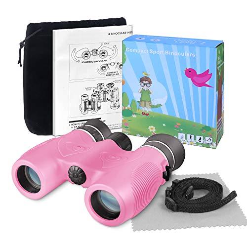 SAVFY Geschenke für Kinder Fernglas Kompaktfernglas 8x21 Optisches Sehen Ideal für Abenteuer in der Natur wie Wald/Bootfahren/Wandern etc (Pink)