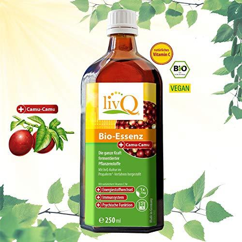 LivQ Bio Essenz Vitalstoffkonzentrat Camu Camu 250 ml - 32 Bio-Zutaten fermentiert - natürliches Vitamin C & Milchsäurebakterien