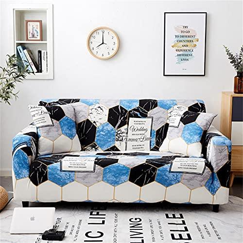 SUUZQK Protector De Sofá con Estampado De Cuadros De Mármol Azul, Funda De Sofá Elástica Antideslizante De Poliéster, Lavable para Todas Las Estaciones 3 Seater (190-230 cm)