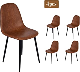 Set of 4 Modern Dining Chairs, Mid-Century Eames Style Living Room Chair with Back, Leather Appearance Seat Lounge Chair, Home Kitchen Side Chair with Metal Legs (Brown)