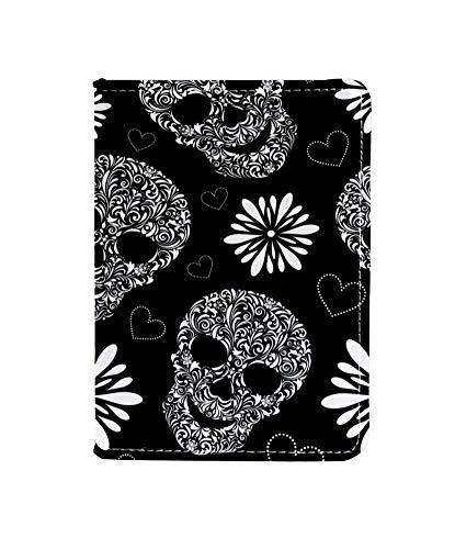 Abstract Sugar Skull Floral Passport Holder Cover Wallet,RFID Blocking Card Case Travel Passport Organizer Protector