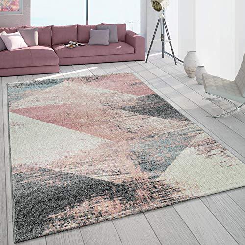 Paco Home Teppich Wohnzimmer Grau Weiß Rosa Pastell Dreieck Muster Vintage Design Kurzflor, Grösse:140x200 cm
