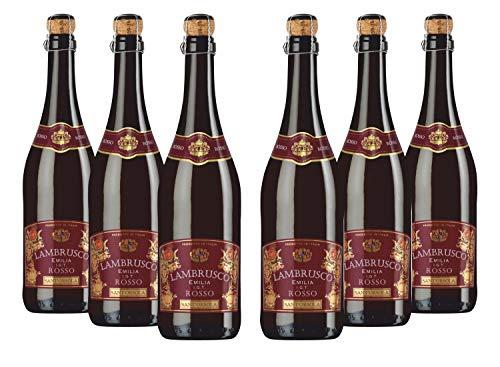 Sant'Orsola Lambrusco Emilia IGT Frizzante Rotwein Schaumwein 6 Flaschen Lambrusco NV trocken (6 x 0.75 l)