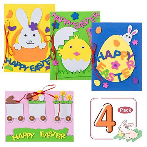 uova di pasqua x bambini Kesote Set di 4 Biglietti Pasquali di Coniglio