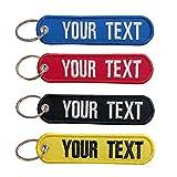 Brillianne Porte-clés personnalisé Porte-clés personnalisé pour Motos Voitures Scooters et Cadeaux Porte-clés de Broderie pour Homme Porte-clés de Motard Double Face (13x3cm)