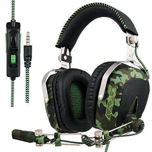 SADES SA926T aggiornato PS4 Cuffie Gaming Headset stereo per Xbox One Cuffie da gioco Cuffie over-ear con microfono per PS4 / Xbox One / PC / Mac / Smart Phone / iPhone / iPad (esercito verde)