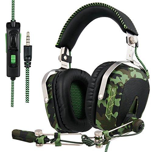 SADES mis à jour SA926T casque PS4 stéréo Xbox one casque de jeu sur-oreille casque Gaming Headset avec microphone pour PS4 / Xbox One / PC / Mac / téléphone intelligent / iPhone / iPad (vert armée)