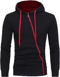 Mens Long Sleeve Hoodie Hooded Fancy Zipper Sweatshirt Tops Jacket Coat