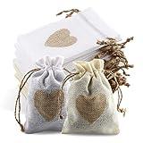 24pcs Bolsas De Yute, Bolsas de Yute con Cordón y Diseño de Corazón, Bolsas...