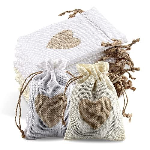 24Pcs Sachets en Toile de Jute Pochettes avec Cordon et Motif de Coeur, Sac Cadeau de Bonbons, Jute...