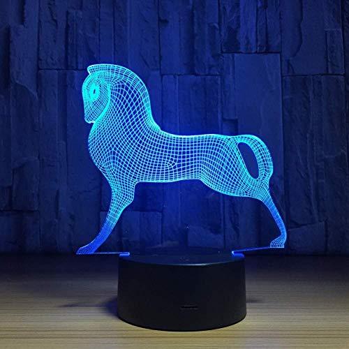 3D Veilleuse 7 Changement de Couleur Mignon Poney Cheval Jouets Mon Petit Poney Illusion Veilleuse Acrylique Veilleuse Bébé Enfants Sommeil Lampe