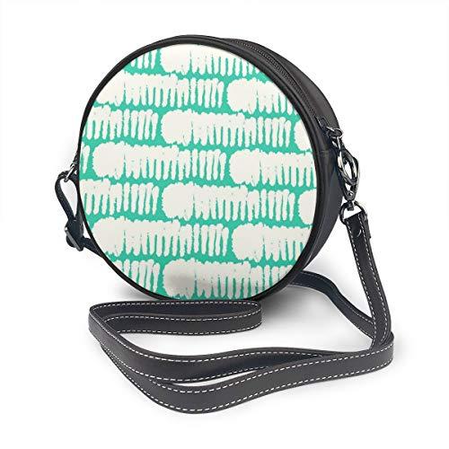 Vet Patroon Met Brede Borstelstreken In Aqua Groen Ronde Schoudertas Lederen Messenger Bag Vintage Crossbody Verstelbare Schouderband Voor Vrouwen Aangepast