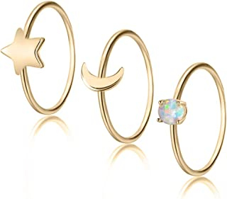 3-5pcs Stacking Ring with Copper White Gold Plated 1mm Opal Band Star and Moon Knuckle Midi Band Rings