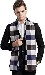 Scarves Scarf Scarves Men's Scarf Winter Warm Scarf Wool Plaid Scarf Youth Fashion Wild Scarf (Color : Blue, Size : 180 * 30cm)