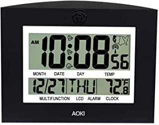 AOKI Atomic Wall Clock Radio Controlled Digital Wall Clock Large Display Indoor Temperature Table Desktop Kitchen Auto Set Up Day Date Month 12 24 Hour Dual Alarm Snooze Time Zone Multi-Language Black