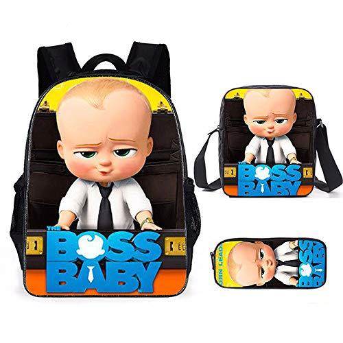 ZHAOYONGBING Kinder-Rucksack-Baby-Boss 3D Printed Schulranzen Sets Nette Kinder Rucksack Und Beleidigter Lunch Box-Feder-Kasten-Multifunktions 3 In 1 1