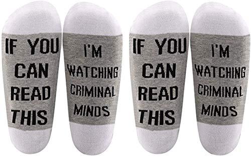 AATOP Criminal Minds inspiriertes Geschenk If You Can Read This I'm Watching Criminal Minds Baumwollsocken Criminal Minds Fans Geschenk Gr. One size, 2 Paar/Set.