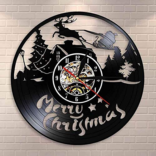 ZZLLL Christmas Figures Wall Clock Reindeer Santa Claus on Sleigh Vinyl Record Wall Clock Merry Christmas Symbols Housewarming Git