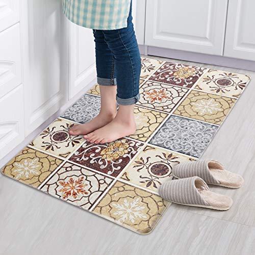 Sxuan Küchenteppich Läufer, rutschfest waschbar Küchenläufer Teppich Läufer Flur Küchenmatte PVC für Wohnzimmer, Schlafzimmer, Küche, Kinderzimmer, Badezimmer, 77 x 44cm(geometrisches Braun)
