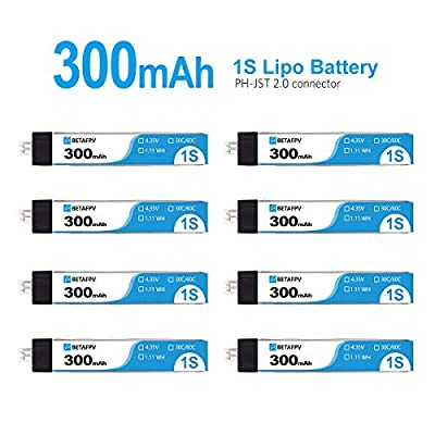 BETAFPV 8pcs 300mAh 1S Lipo Battery LiHV Battery 30C 4.35V with JST-PH 2.0 Powerwhoop Connector for Tiny Whoop Blade Inductrix Micro Mini Drone