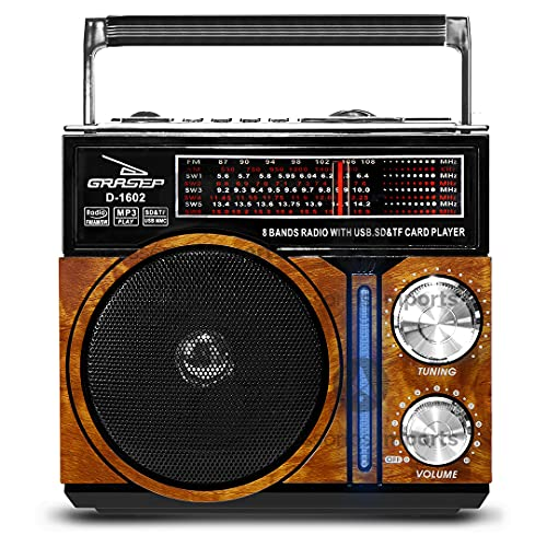 Radio Vintage Retrô Recarregável Am Fm Sw Usb Mp3 Auxiliar (Marrom)