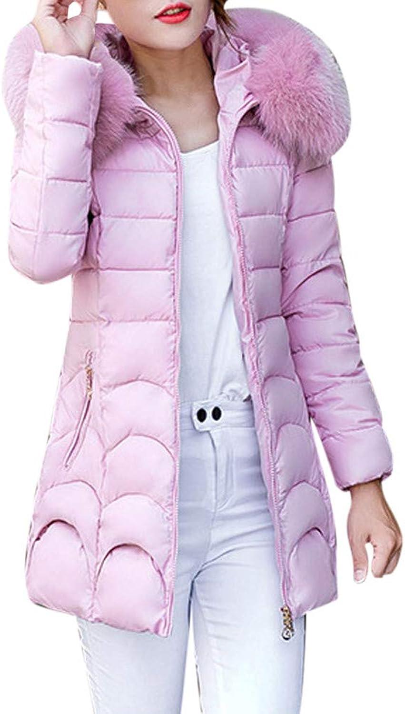 ManxiVoo Women Coat for Winter Faux Fur Collar Hooded Outwear Cotton Parka Slim Jacket