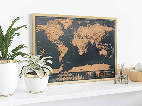 L+H Weltkarte zum freirubbeln | Rubbelweltkarte in schwarz Gold | Scratch scretching Weltrubbelkarte zum rubbeln in Premium Qualität | Rubbelweltkarte inkl. Retro Verpackung | Rubbelkarte für Collage