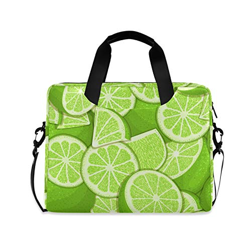Green Lemon Slim Laptop Sleeve 15.7 inch Briefcases for Men and Women with Cross Body Shoulder Bag Design Carrying Case Computer Messenger Bag for Business Travel School