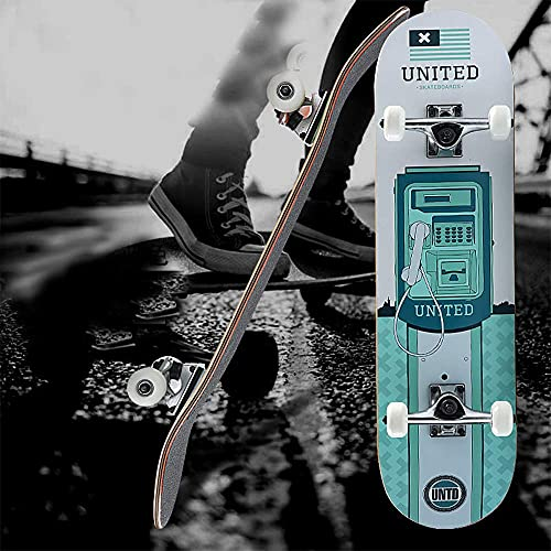 fgg Skateboard Kids Principiantes Retro Mini 31'Cubiertas de patín Completo de Patines completos Tableros de Patinaje clásicos para Adolescentes/Adultos fengong